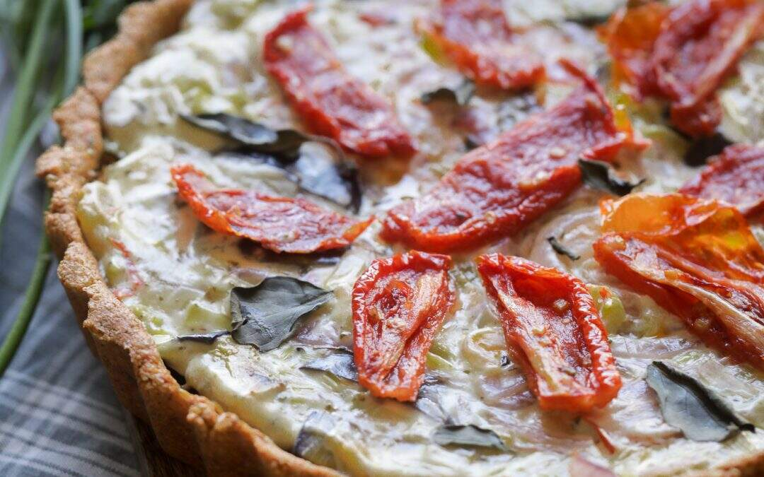 Quiche low carb de alho-poró